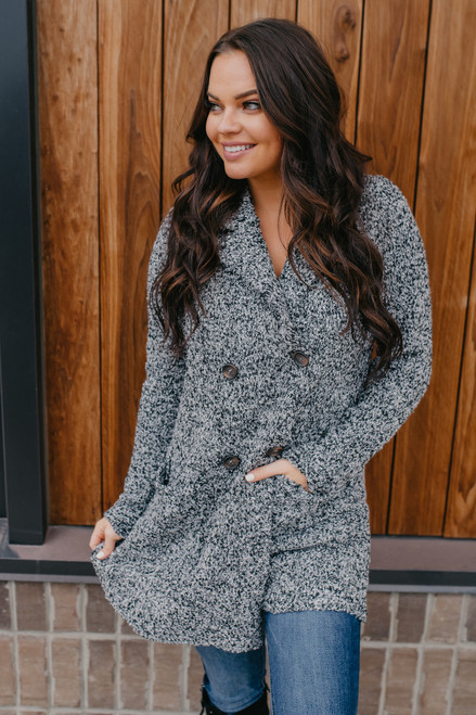 Two Tone Double Button Cardigan - Black