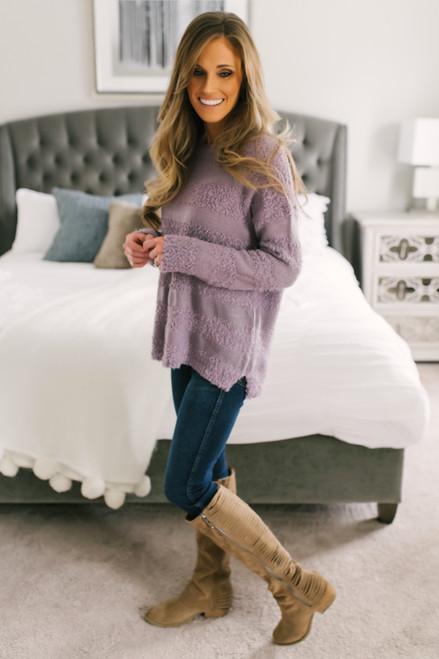 Fuzzy Striped Sweater - Lavender