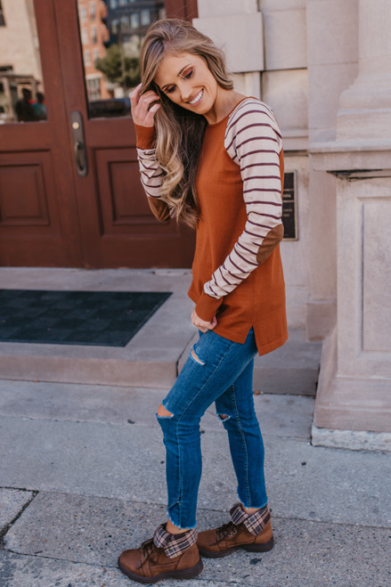 Contrast Striped Raglan Sweater - Copper/Oatmeal/Brown - FINAL SALE