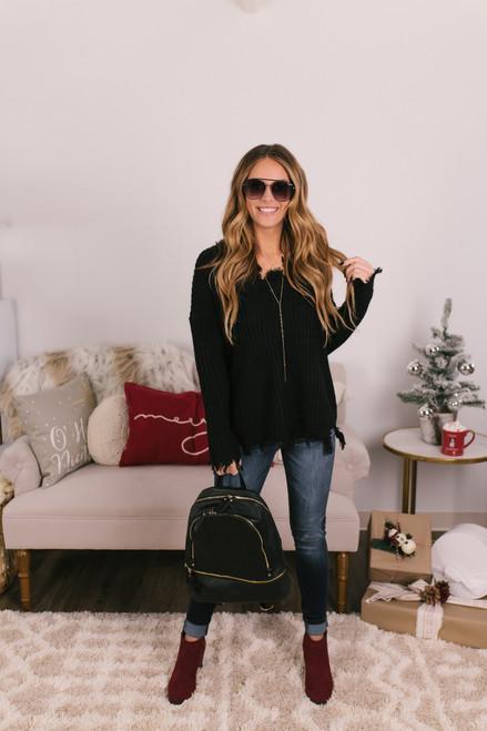 V-Neck Distressed Sweater - Black