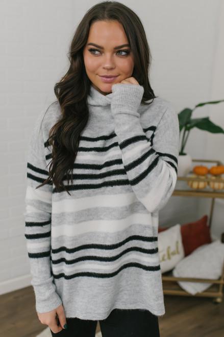 Mock Neck Striped Sweater - Grey/Black/White