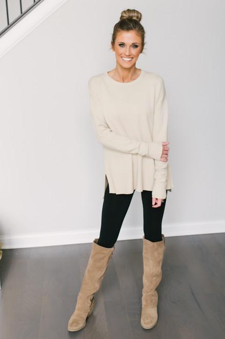 Bundle Up Seam Detail Sweater - Almond