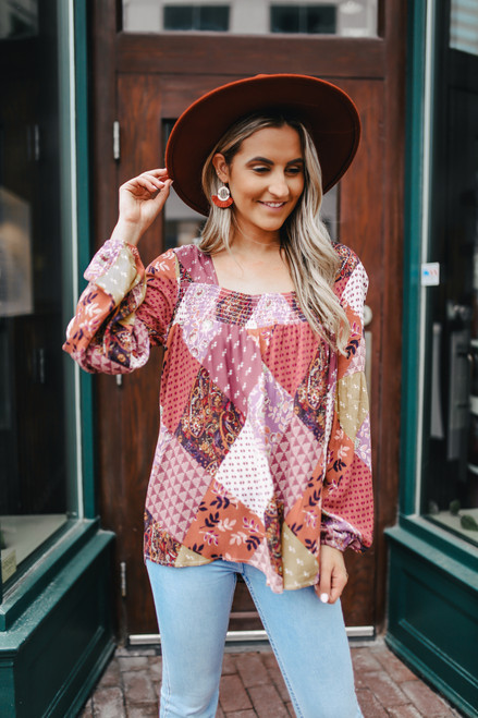 Square Neck Smocked Patchwork Top - Berry Multi - FINAL SALE