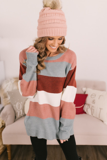 Colorblock Sweater - Mauve/Blue/Burgundy/White