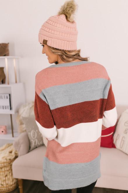Colorblock Sweater - Mauve/Blue/Burgundy/White