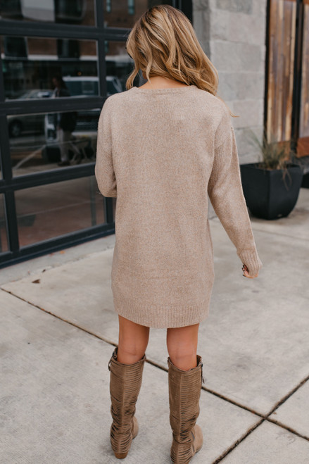 Seam Detail Sweater Dress - Oatmeal