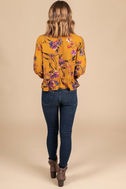 Button Detail Floral Peplum Blouse - Mustard