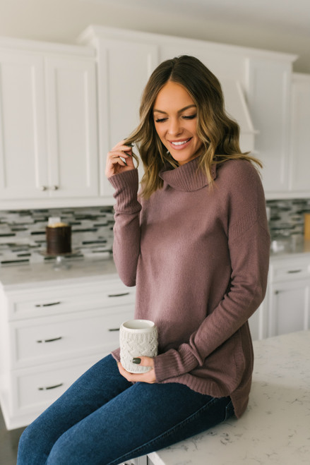 Cowl Neck Button Detail Sweater - Mocha Lavender