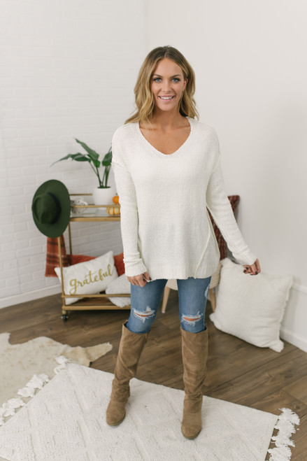 V-Neck Seam Detail Sweater - Ivory