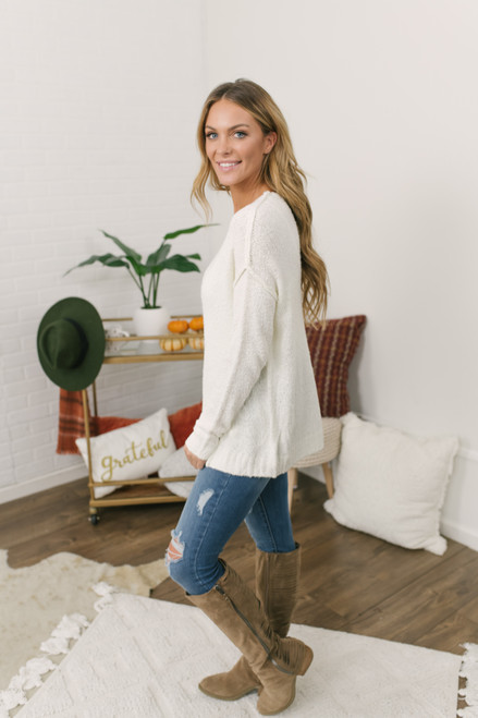 V-Neck Seam Detail Sweater - Ivory - FINAL SALE