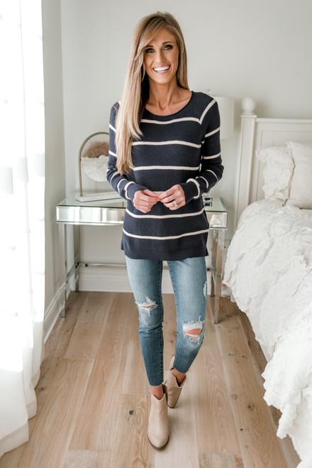 Ribbed Raglan Striped Sweater - Navy/Oatmeal