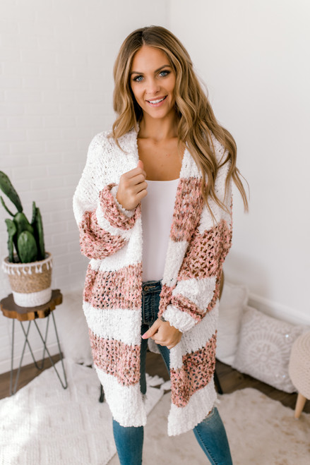 Confetti Colorblock Cozy Cardigan - Mauve Multi