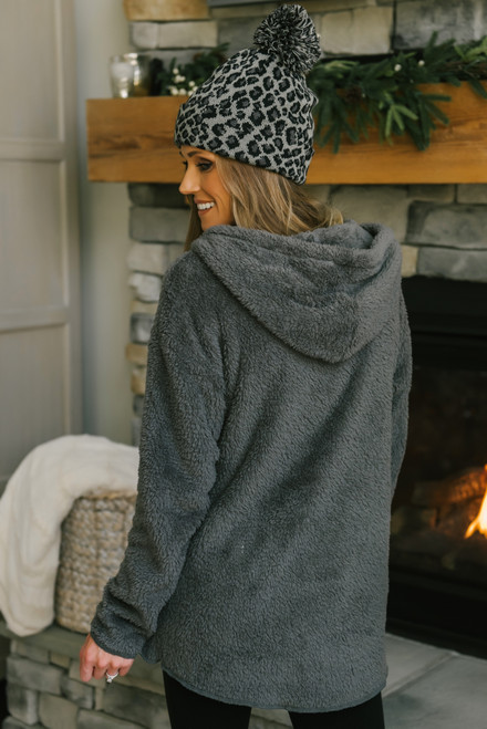 Drawstring Sherpa Hoodie - Charcoal