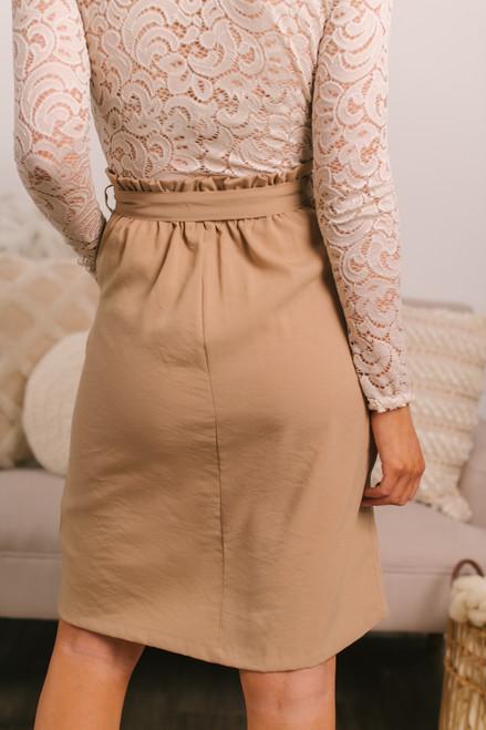 Button Down Paperbag Beige Skirt