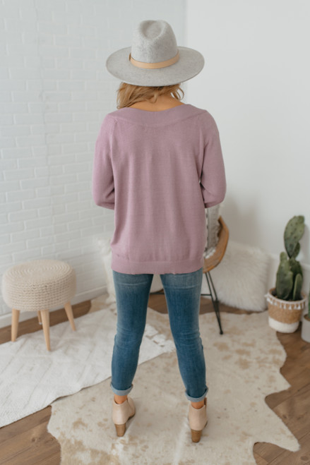 Boatneck Slouchy Sweater - Dusty Lavender