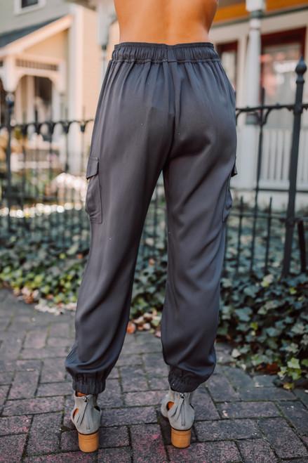 Drawstring Cargo Pants - Charcoal