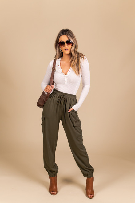 Drawstring Cargo Pants - Olive