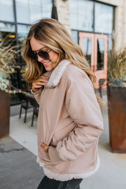 Reversible Sherpa Jacket - Taupe - FINAL SALE