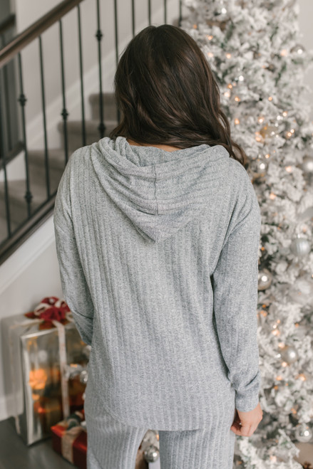 Drawstring Ribbed Knit Hoodie - Heather Grey