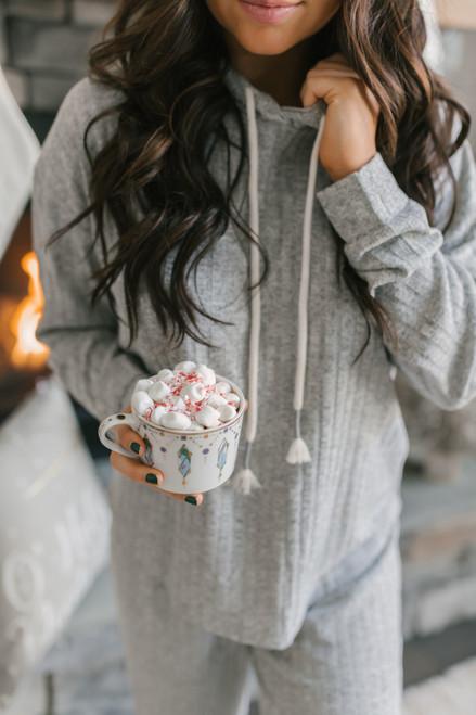 Drawstring Ribbed Knit Hoodie - Heather Grey