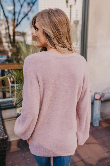 V-Neck Fuzzy Sweater - Dusty Lavender