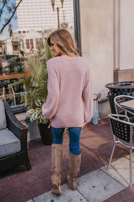 V-Neck Fuzzy Sweater - Dusty Lavender - FINAL SALE