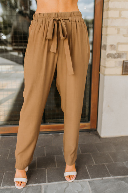 Drawstring Pocket Pants - Dark Camel