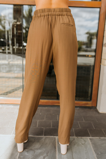 Drawstring Pocket Pants - Dark Camel - FINAL SALE