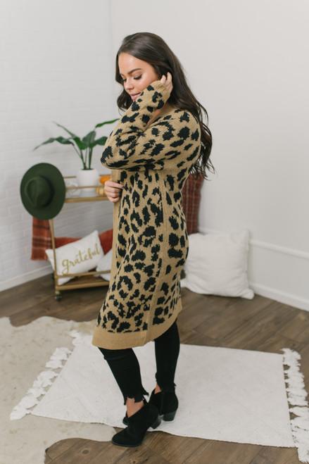 Untamed Leopard Cardigan - Taupe/Black