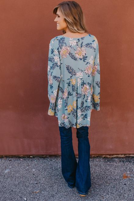 V-Neck Floral Babydoll Top - Desert Sage - FINAL SALE