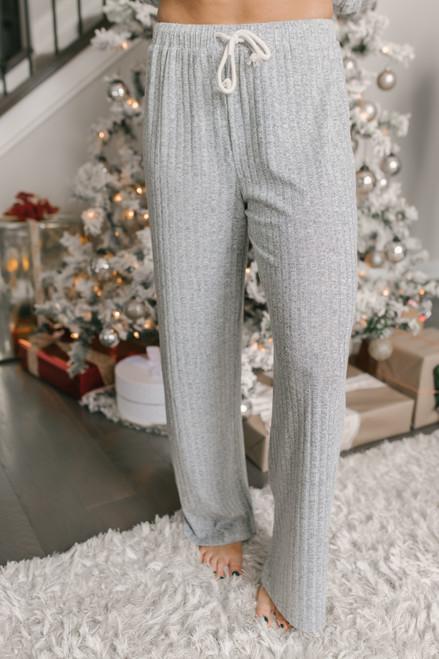 Drawstring Ribbed Lounge Pants - Heather Grey