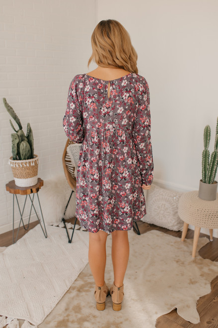 V-Neck Floral Empire Dress - Lavender Grey -  FINAL SALE