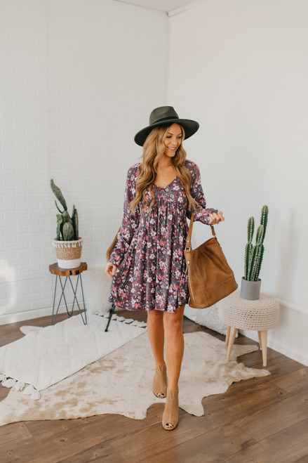 V-Neck Floral Empire Dress - Lavender Grey