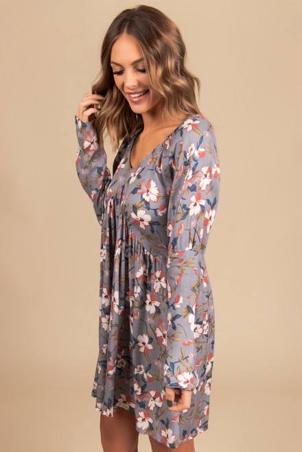 V-Neck Floral Empire Dress - Grey