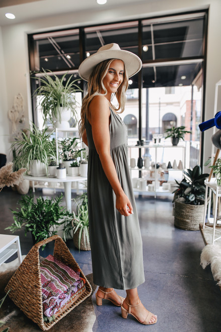 Button Down Cropped Olive Crepe Jumpsuit