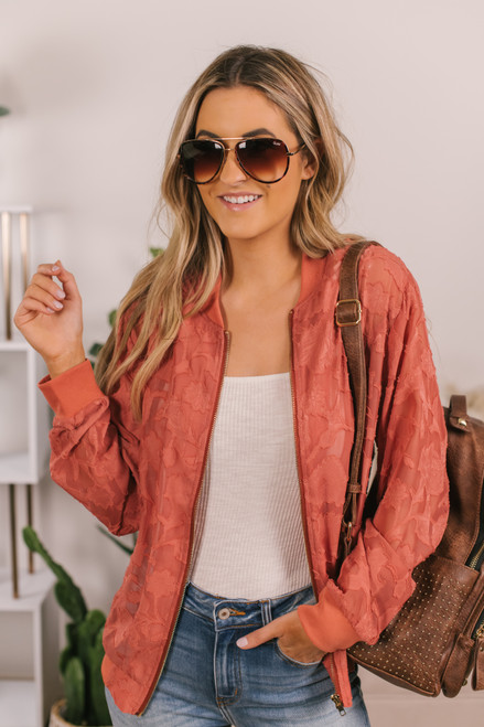 Textured Floral Rosewood Bomber Jacket