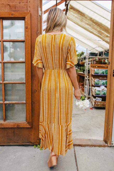 Surplice High Low Mustard Printed Midi Dress