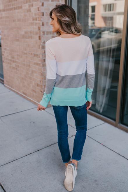 Harper Colorblock Sweater - Pink/White/Grey/Mint