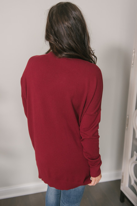 V-Neck Seam Detail High Low Sweater - Burgundy
