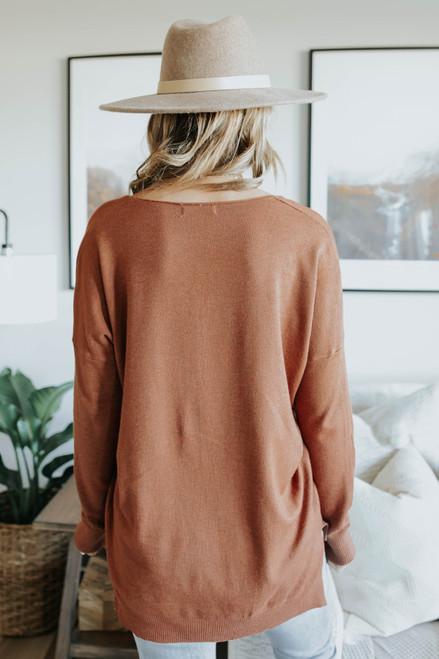 V-Neck Seam Detail High Low Sweater - Ginger