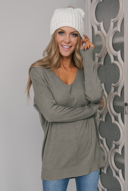 V-Neck Seam Detail High Low Sweater - Olive