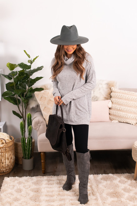 Cowl Neck Brushed Pullover - Grey