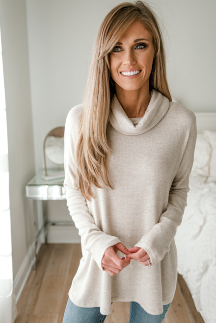 Cowl Neck Brushed Pullover - Oatmeal - FINAL SALE