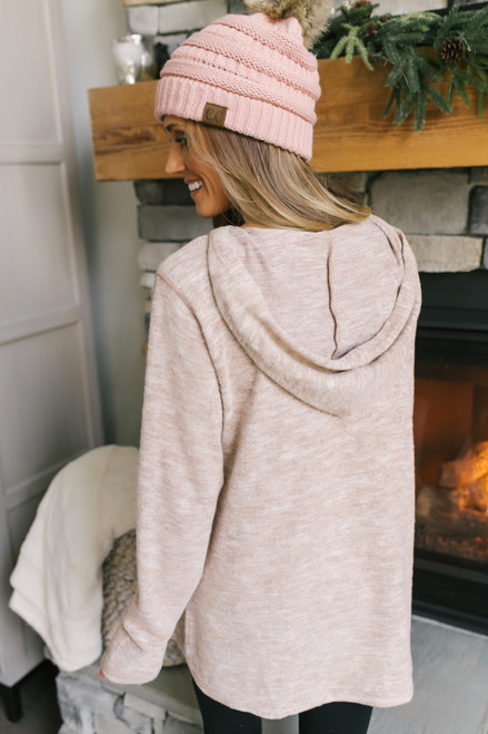 Soft Brushed Hoodie - Heather Blush