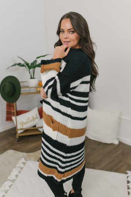 Striped Pocket Cardigan - Black/Camel/Ivory