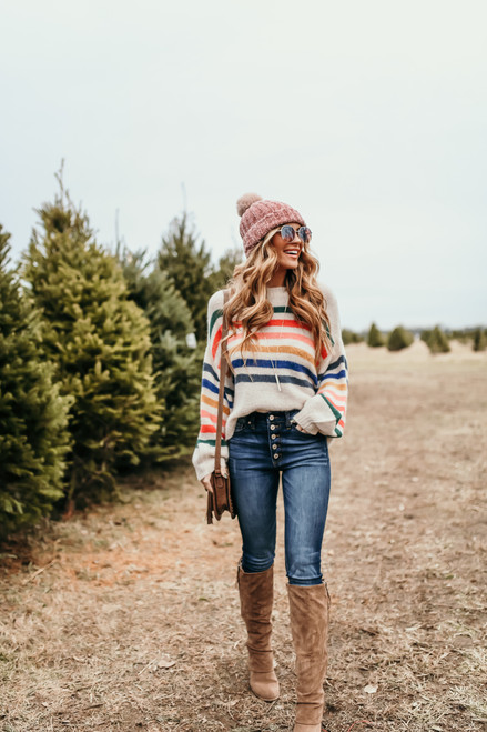 Holiday Cheer Multi Striped Sweater - Ivory