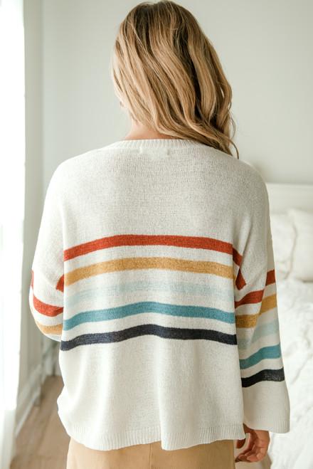 Bonfire Bay Multi Striped Sweater - Ivory - FINAL SALE