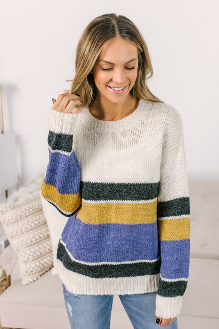 Multi Stripe Sweater - Ivory