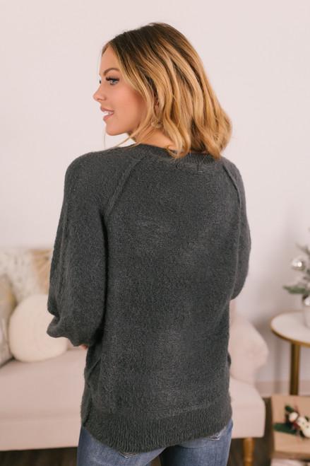 V-Neck Raglan Eyelash Sweater - Charcoal