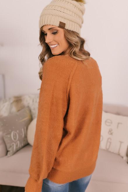 V-Neck Raglan Eyelash Sweater - Rust